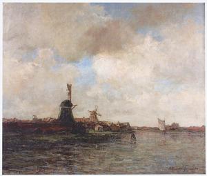 Dorpsgezicht met molens aan rivier