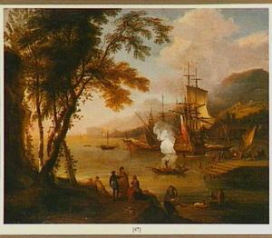 Mediterraan kustlandschap met schepen voor anker in een baai