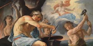 Vulcanus smeedt op verzoek van Venus de wapens van Aeneas