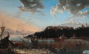 Gezicht op het paleis van de sultan aan de Bosporus te Constantinopel