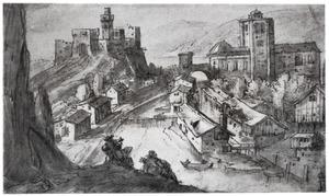 Landschap met rivier en bebouwing en tekenaar