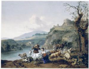 Italianiserend rivierlandschap met een melkende herderin, een drinkende jongen, schapen, geiten en de Engelenburcht op een heuvel