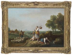 Italiaans landschap met herdersfamilie en schapekudde