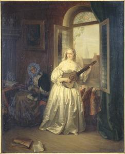 Interieur met een vrouw met gitaar voor een open raam