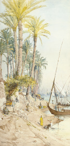 Kleding wassen in de Nijl bij Cairo, met felucca's