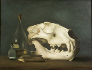 Stilleven met tijgerschedel, twee flesjes en boekjes