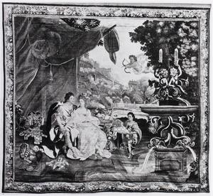 Amadis en Oriane rustend bij een fontein