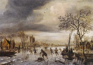 Winterlandschap met kolf spelende schaatsers op een vaart bij een dorp