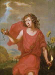 Allegorie op de vergankelijkheid: een jongen met bloemblaadjes en een brandende kaars in de hand