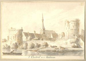 Hattem, met de ruïne van kasteel St. Lucia ofwel de Dikke Tinne, opgenomen in de stadsmuur