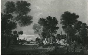Landschap met een ver zicht op een dorp