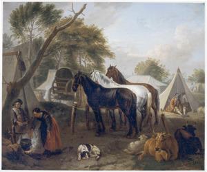 Legerkamp met paarden, runderen en een kokende vrouw
