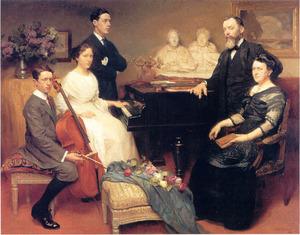 Portret van de beeldhouwer Jules Lagae (1862-1931) en zijn gezin