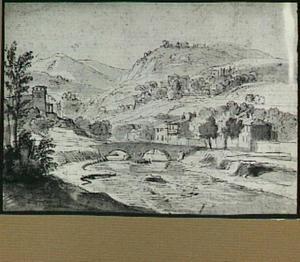 Italianiaans rivierlandschap met brug