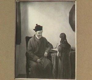 Een oude man en een lezend meisje