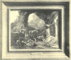 Herderin met vee bij een ruïne en grot