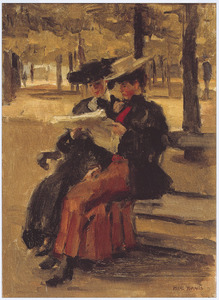 Twee jonge vrouwen lezend in Bois de Boulogne
