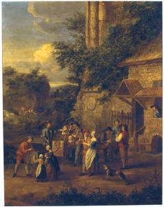 Marskramers en een scharensliep met hun klanten in een landschap