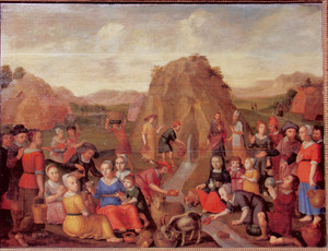 Portrait historié 'van een gereformeerde familie met de geschiedenis van Mozes, die water slaat uit de rots (Exodus 17:1-7)