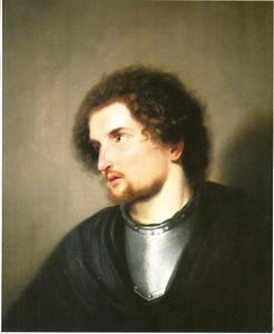 Portret van een jonge man met een halsberg