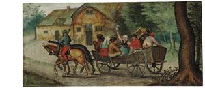 Boeren in een open wagen