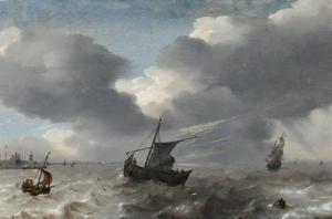 Schepen in noodweer voor een onbekende haven met op de achtergrond een bliksemschicht