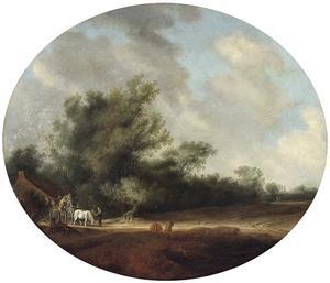Landschap met een paard en wagen bij een boerderij