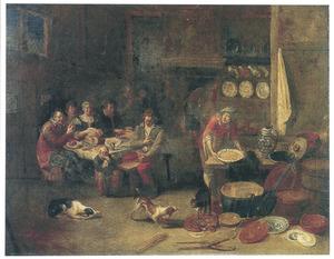 Tafelend gezelschap in een herberg