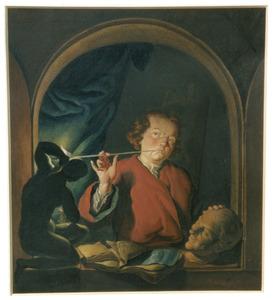 Rokende man in een venster