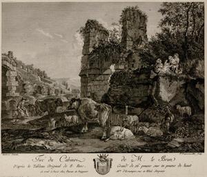 Landschap met vee en ruïnes
