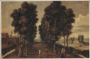 Parklandschap met balspelers in een bomenlaan