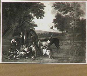 Jager en honden bij een jachtbuit van gevogelte in een landschap
