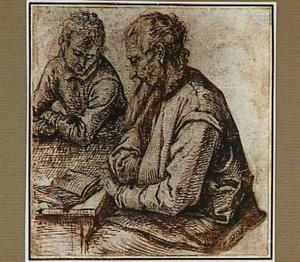 Portret van de geleerde Josephus Justus Scaliger (1540-1609) en één van zijn leerlingen