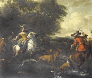 Elegant jachtgezelschap op hertenjacht