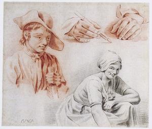 Studies van een jongen, een jonge vrouw en een paar handen