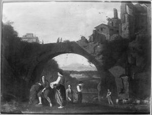 Zuidelijk landschap met figuren bij een brug