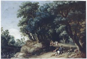 Boslandschap met hertenjacht