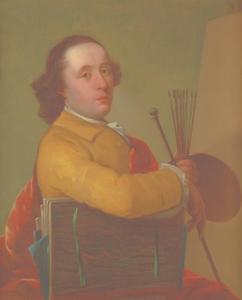 Zelfportret met schildersgerei voor een leeg doek