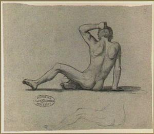 Zittend mannelijk naakt, op de rug gezien