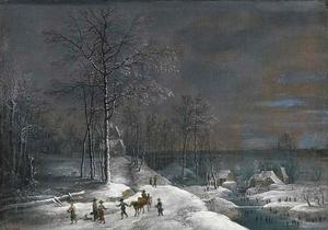 Winterlandschap met wandelende figuren op de voorgrond, een watermolen in de verte