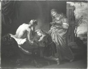 Jakob ontsteelt Esau Isaaks vaderlijke zegen (Genesis 27:26-29)