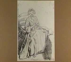 Handwerkend zittend meisje