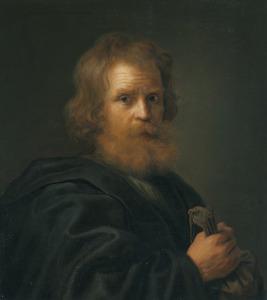Man met baard met een beurs