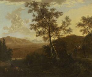 Zuidelijk berglandschap met vee bij een doorwaadbare plaats