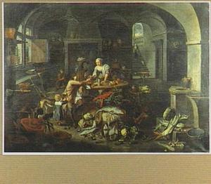 Keukeninterieur met een meid die een man een mossel geeft; op de voorgrond een stilleven van vis en groente