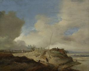 Landschap met seinpaal