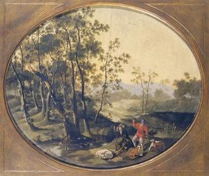 Landschap met jagers rustend bij een beek
