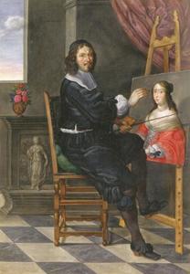 Zelfportret van Johann Walther bij het schilderen van het portret van Anna von Leiningen-Dagsburg-Falkenburg, de tweede echtgenote van graaf Johann von Nassau-Idstein