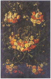 Gebeeldhouwde cartouche met de Aanbidding der herders, versierd met bloemguirlandes