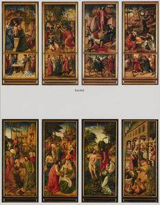 Luiken van een altaarstuk met 12 scènes uit het leven van Christus en de H. Jozef